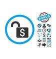 Open Banking Lock Flat Icon with Bonus vector image