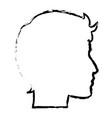 sketch profile head man character vector image