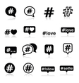 Hashtag social media icons set vector image