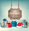 Winter background with gift boxes and a wooden vector image