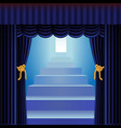 blue curtains with staircase vector image