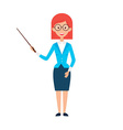 Woman Teacher with Glasses and Pointer vector image