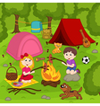 children fry sausages on bonfire in summer camp vector image