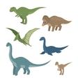 Cartoon set diplodocus plesiosaur pterosaur vector image