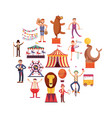 circus carnival flat icons in circle design vector image