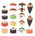 japanese food sushi sashimi roll or nigiri vector image