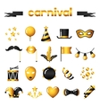 Set of carnival gold icons and objects vector image