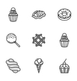Sweet desserts line icons vector image
