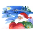 Merry Christmas and New Year card with Santa Claus vector image
