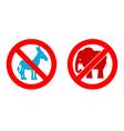 Ban elephant Stop donkey Prohibited Symbols USA vector image