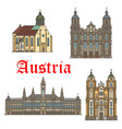 architecture landmarks of austria icons vector image