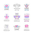 love and wedding set for logo design collection vector image