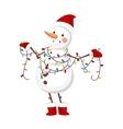 Cartoon snowman character vector image