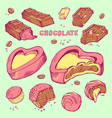 set of colored sketches bitten chocolates vector image