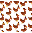 thanksgiving day cute turkey with hat design vector image