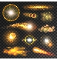 Transparent yellow light effects and lens flares vector image