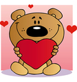 Happy Teddy Bear Holding A Red Heart vector image vector image