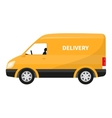 flat icon cartoon yellow delivery truck vector image