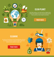 green planet cleaning banners vector image