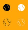 baseball ball black and white set icon vector image