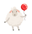 cute white sheep character standing with red vector image