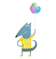 Kids Wolf or Dog with Balloons Colorful Cartoon vector image
