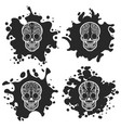 ornate skulls on black ink splashes vector image