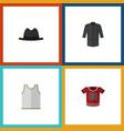 flat icon clothes set of singlet t-shirt uniform vector image