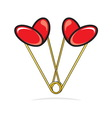 Heart shape paper clips vector image