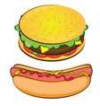hotdog and burger on white background vector image