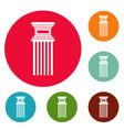 antique column icons circle set vector image