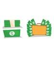 Briefcase full of money bundle of dollars vector image