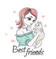 Cute young girl with cat vector image