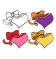 heart with ribbon set vector image
