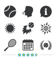 tennis ball and racket icons laurel wreath vector image