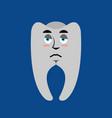 tooth sad emoji teeth sorrowful emotion isolated vector image