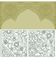 background with golden patterned arched frame vector image