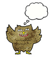 cartoon happy owl with thought bubble vector image