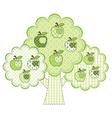 Patchwork green apple tree vector image