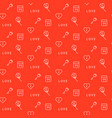 red keys and flowers seamless pattern vector image