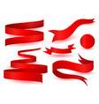 set of shiny red ribbons vector image