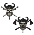 Set of skulls in viking helmets with crossed vector image