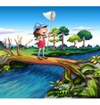 A girl holding a butterfly net crossing the river vector image