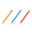 three colored pencils vector image