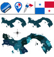 map of panama with named provinces and comarcas vector image