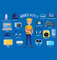 world of gadgets set vector image