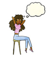 cartoon woman posing on stool with thought bubble vector image