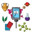 History and biology science icons vector image vector image
