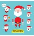 Cartoon character Santa Claus in various positions vector image
