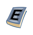 Lletter E at Vintage books in hardcover vector image